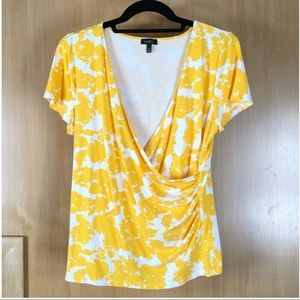 Talbots Top Faux Wrap Yellow V-Neck